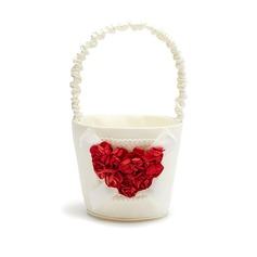 Beautiful Flower Basket in Satin With Rose Heart (102037487)