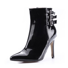 Patent Leather Stiletto Heel Ankle Boots With Buckle shoes (088036351)