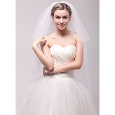 Four-tier Cut Edge Chapel Bridal Veils With Embroidery
