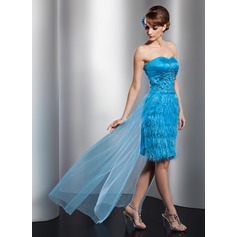 Sheath/Column Sweetheart Asymmetrical Satin Tulle Feather Prom Dress With Beading Sequins