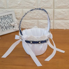 Pure Flower Basket in Satin With Bow/Ribbons