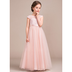 A-Line/Princess Scoop Neck Floor-Length Tulle Lace Junior Bridesmaid Dress With Bow(s)