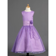 A-Line/Princess Ankle-length Flower Girl Dress - Organza/Charmeuse Sleeveless Scoop Neck With Flower(s)