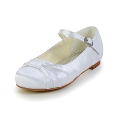 Girl's Shoes Flats Round Toe Closed Toe Flat Heel Satin Kids' Shoes (207095463)