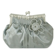 Lovely Silk With Rhinestone Clutches