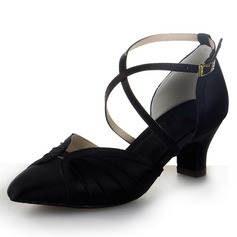Women's Satin Heels Modern With Ankle Strap Buckle Dance Shoes