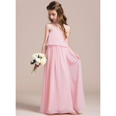 A-Line/Princess Strapless Floor-Length Chiffon Junior Bridesmaid Dress