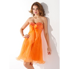 Empire Sweetheart Knee-Length Organza Homecoming Dress With Beading Bow(s) Pleated