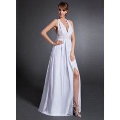 A-Line/Princess Halter Floor-Length Chiffon Mother of the Bride Dress With Ruffle Beading Split Front