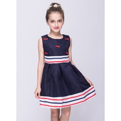 A-Line/Princess Short/Mini Flower Girl Dress - Cotton Sleeveless Scoop Neck With Bow(s)
