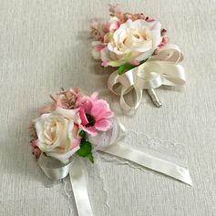Classic Ribbon/Artificial Silk Flower Sets (set of 2) - Wrist Corsage/Boutonniere