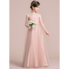 A-Line/Princess Scoop Neck Floor-Length Tulle Junior Bridesmaid Dress (009095100)