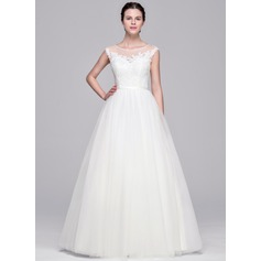 Ball-Gown Scoop Neck Floor-Length Tulle Lace Wedding Dress