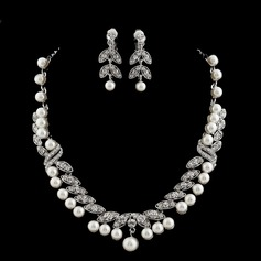 Leaves Shaped Alloy/Pearl/Rhinestones Ladies' Jewelry Sets