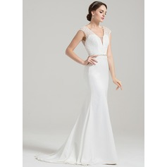 Trumpet/Mermaid V-neck Sweep Train Satin Lace Wedding Dress With Beading Sequins