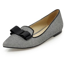 Sparkling Glitter Flat Heel Flats Closed Toe With Bowknot shoes (086067347)