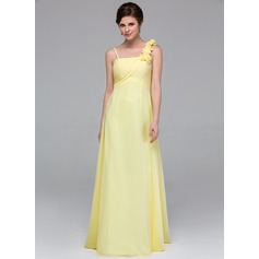 Empire Floor-Length Chiffon Bridesmaid Dress With Ruffle Flower(s)
