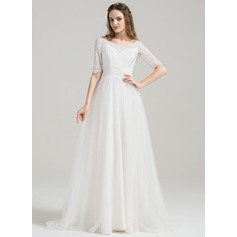 A-Line/Princess Off-the-Shoulder Sweep Train Tulle Lace Wedding Dress