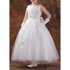 Ball Gown Ankle-length Flower Girl Dress - Tulle/Cotton Sleeveless Scoop Neck With Appliques/Sequins/Bow(s)