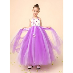 Ball Gown Tea-length Flower Girl Dress - Tulle/Charmeuse Sleeveless Halter With Beading/Flower(s)