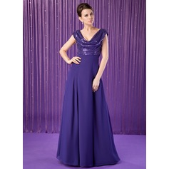 A-Line/Princess Cowl Neck Floor-Length Chiffon Sequined Mother of the Bride Dress With Ruffle