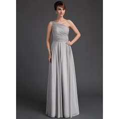 A-Line/Princess One-Shoulder Floor-Length Chiffon Mother of the Bride Dress With Ruffle