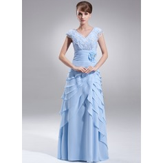 A-Line/Princess V-neck Floor-Length Chiffon Mother of the Bride Dress With Beading Flower(s) Sequins Cascading Ruffles