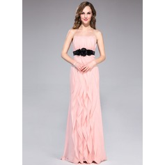 Sheath/Column Strapless Floor-Length Chiffon Bridesmaid Dress With Sash Flower(s) Bow(s) Cascading Ruffles