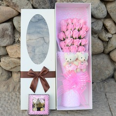 Flower Design Soaps With Ribbons