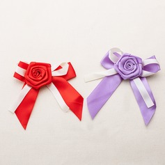 Lovely Bowknot Rose Design Satin Decorative Accessories
