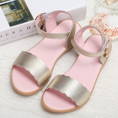 Girl's Real Leather Flat Heel Peep Toe Sandals