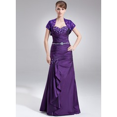 Trumpet/Mermaid Sweetheart Floor-Length Taffeta Mother of the Bride Dress With Lace Beading Cascading Ruffles