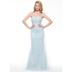Trumpet/Mermaid Strapless Floor-Length Tulle Prom Dress With Flower(s)