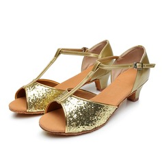 Women's Sparkling Glitter Sandals With T-Strap Dance Shoes