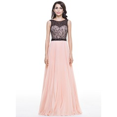 A-Line/Princess Scoop Neck Floor-Length Chiffon Lace Evening Dress With Beading Sequins Pleated