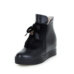 Leatherette Low Heel Platform Ankle Boots With Braided Strap shoes