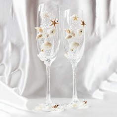 Beach Theme Lead-free Glass Toasting Flutes (Set Of 2)