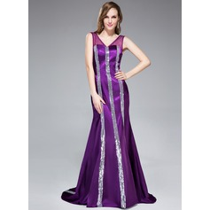 Trumpet/Mermaid V-neck Sweep Train Charmeuse Evening Dress With Sequins