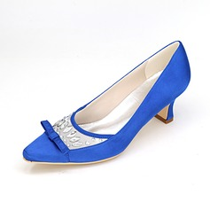Women's Satin Spool Heel Closed Toe Pumps With Bowknot Crystal