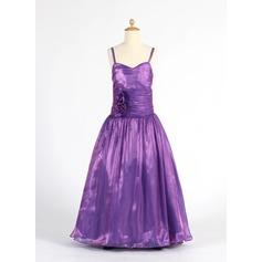 A-Line/Princess Floor-length Flower Girl Dress - Organza Sleeveless Sweetheart With Ruffles/Flower(s)