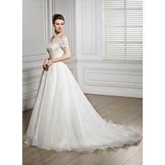Ball-Gown Off-the-Shoulder Court Train Organza Lace Wedding Dress With Ruffle Beading Sequins