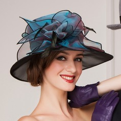 Ladies' Beautiful Spring/Summer/Autumn Organza With Feather Bowler/Cloche Hat (196075365)