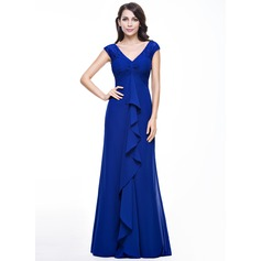 Empire V-neck Floor-Length Chiffon Evening Dress With Lace Cascading Ruffles