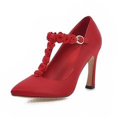 Satin Chunky Heel Pumps Closed Toe With Flower shoes