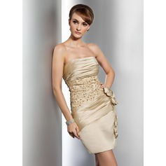 Sheath/Column Strapless Short/Mini Satin Cocktail Dress With Ruffle Beading Appliques Lace Flower(s)