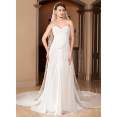 A-Line/Princess Sweetheart Watteau Train Chiffon Wedding Dress With Ruffle