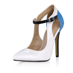 Patent Leather Stiletto Heel Pumps Closed Toe With Buckle Split Joint shoes (085058221)