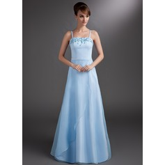 A-Line/Princess Floor-Length Satin Bridesmaid Dress With Beading