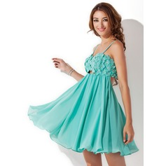 Empire Sweetheart Short/Mini Chiffon Homecoming Dress With Beading Flower(s)