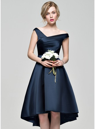 A-Line/Princess Off-the-Shoulder Asymmetrical Satin Homecoming Dress With Ruffle